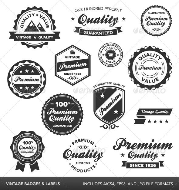 Vintage Badges Labels GraphicRiver Set Of Retro And Includes AICS4