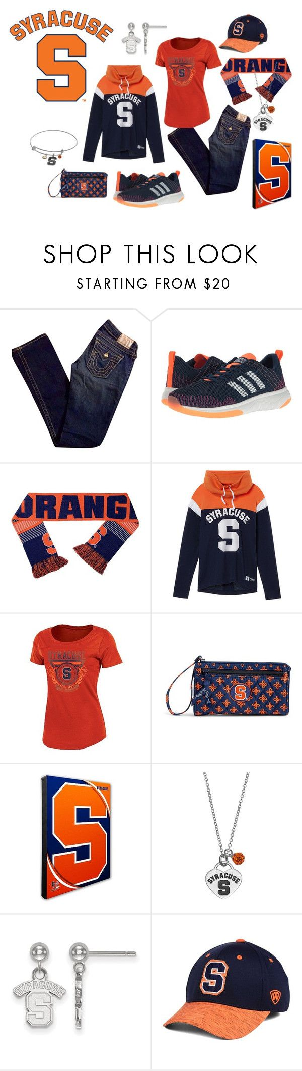 """""""Syracuse Born and Raised"""" by tammyrog ❤ liked on Polyvore featuring True Religion, adidas, Forever Collectibles, Victoria's Secret, Vera Bradley, Fiora, LogoArt and Top of the World"""