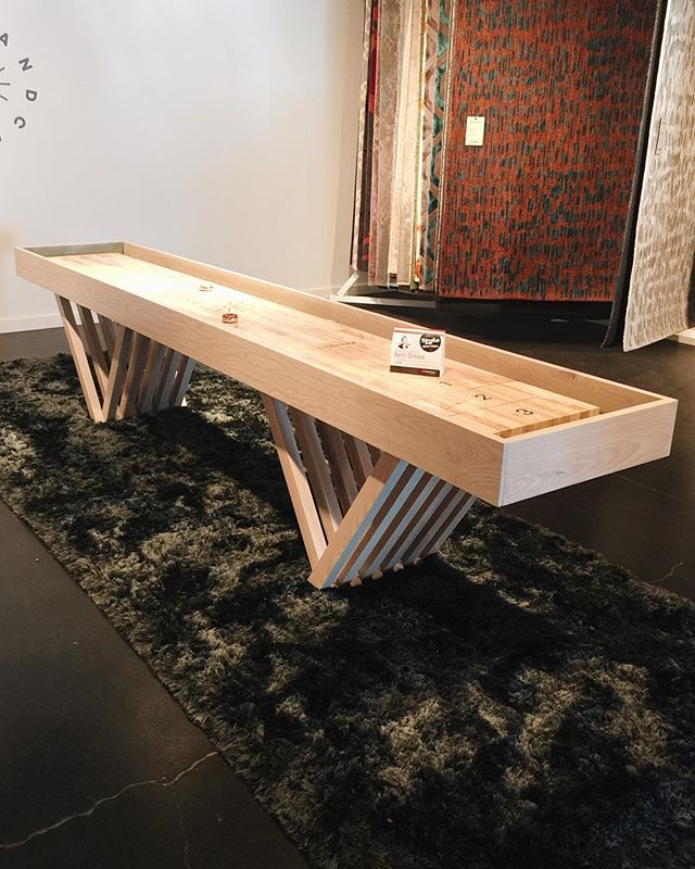 Spotted at #hpmkt! @bethdotolo's Style Spotted this modern hand-crafted customizable shuffleboard table by @shopchandra. We're always looking for modern game tables for our clients. Imagine this table on a fun rug with some great pendant lighting above. We've already dreamed up the room this could live in!  #hpmktSS #hpmktcoveredincryptonhome