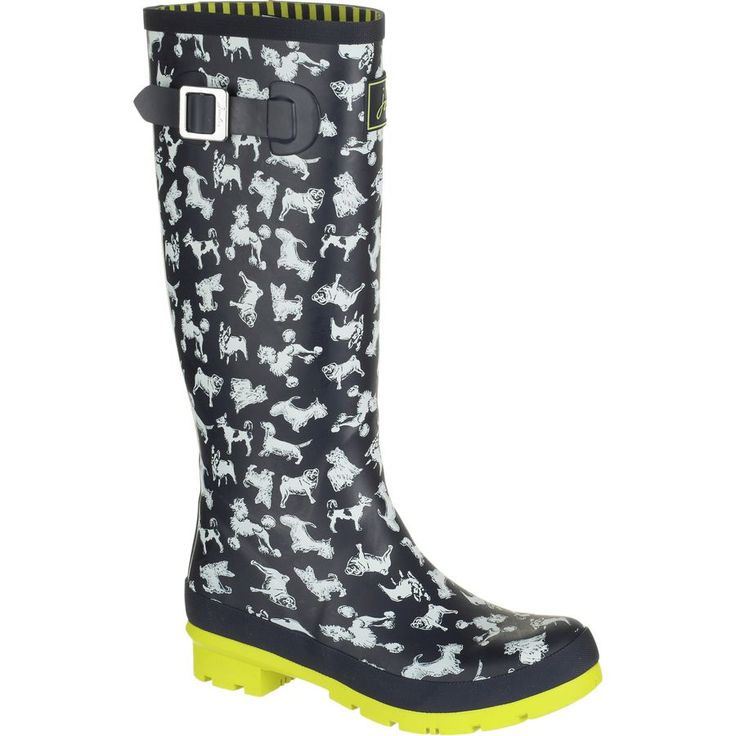 Joules - Welly Print Boot - Women's - Marine Navy Scribbly Dog