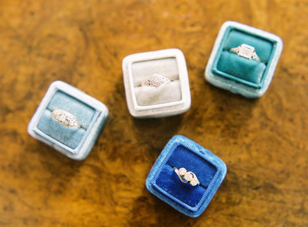 velvet ring boxes, photo by Jen Huang Photography http://ruffledblog.com/romantic-inspiration-froma-jen-huang-workshop #ringboxes #weddingjewelry