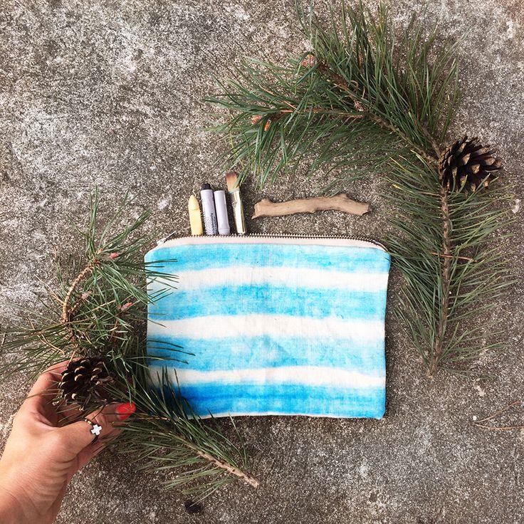Linen pouch - #blue #ombre #pattern Cosmetic bag #stripes #pencilcase #bag #linen #natural
