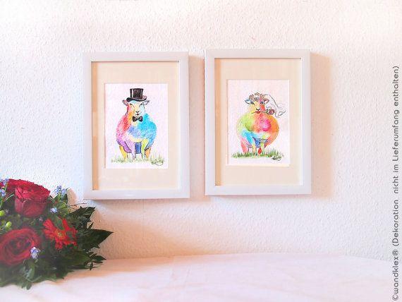 Hochzeitsgeschenk für bunte Leute mit Humor gesucht? Regenbofenbuntes Paar, gemalt auf echtem handgeschöpftem #büttenpapier  Zu haben an in meinem Etsy-Shop https://www.etsy.com/de/listing/268526052/geschenk-fur-brautpaarbunte-schafe.  #etsyresolutionDE #hochzeit #hochzeitsgeschenk #schaf #watercolor #watercolours #sheep