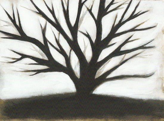 Graphic dark oak tree in fog By artist Jasmine Mills  Contemporary modern art available for sale.  Tree in fog landscape