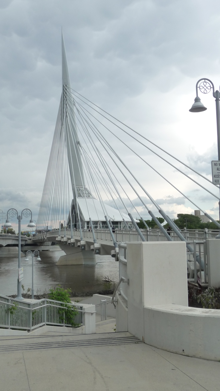 The Esplanade Bridge on Provencher spans the Red River Winnipeg Manitoba