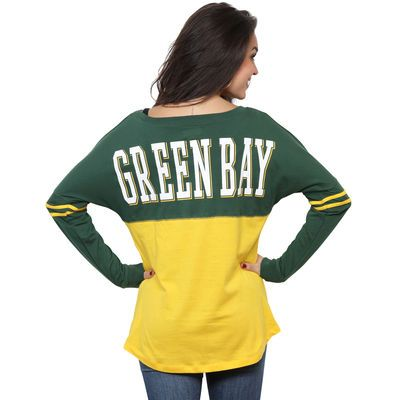 Women's Green Bay Packers 5th & Ocean by New Era Gold Baby Jersey Spirit Top Long Sleeve T-Shirt