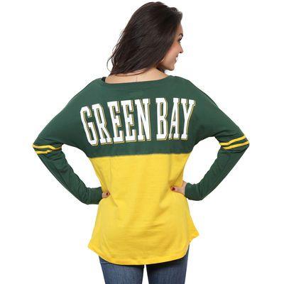 Women's Green Bay Packers 5th & Ocean by New Era Gold Baby Jersey Spirit Top Long Sleeve T-Shirt