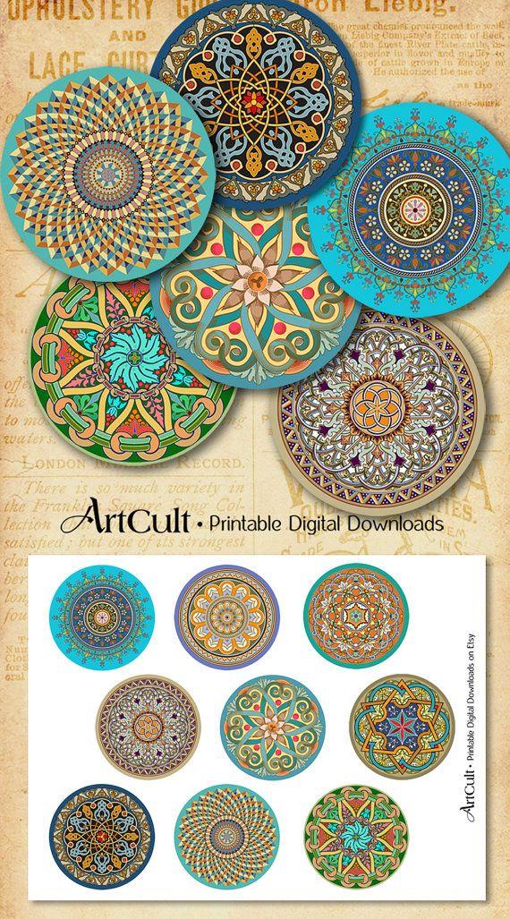 Printable Download ORIENTAL MANDALAS 2.5 inch size by ArtCult
