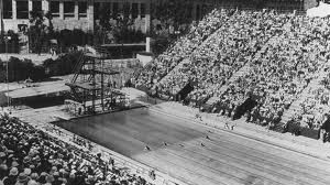 1932 Olympic swimming pool, Los Angeles. 10,000 spectators watched future movie stars such as Buster Crabbe and Eleanor Holm won gold medals in Los Angeles, and the Japanese men won all but one event.