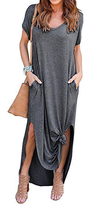 1bad387b4ae8 GRECERELLE Women's Casual Loose Pocket Long Dress Short Sleeve Split Maxi  Dresses Ad $23.80