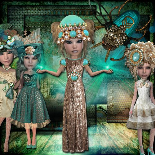 IceCaveDolls_web digital art page by Lisa Dolan Ice Cave Art Dolls & papers by Xquizart. Available at deviantscrap.com