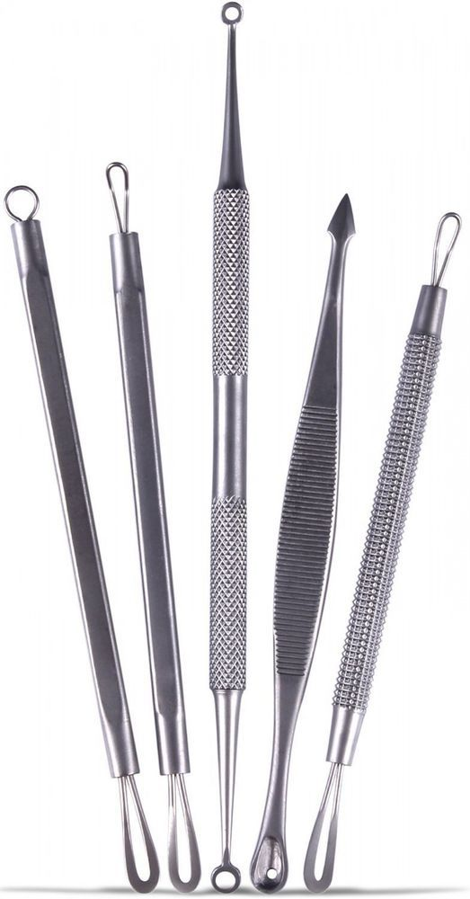 5 Pc Blackhead Blemish Remover Set Pimple Poppers Comedone Extractor Tool Kit #UC