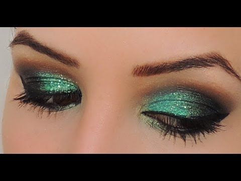 Makeup verde GLITERINADA!