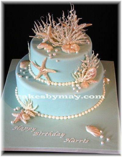 Seashells Birthday Cake - Seashells and Coral made of White chocolate and dusted with pearl and copper dust.  TFL!