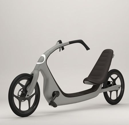 ThisWay-Built from composite materials (carbon or flax fibre) and some hydro-formed aluminium, this vehicle is very lightweight (approximately 11-12kg). It has built-in LED lights front and rear, powered by a rechargeable battery obtaining its power from roof mounted solar cells. By Torkel Dohmers.
