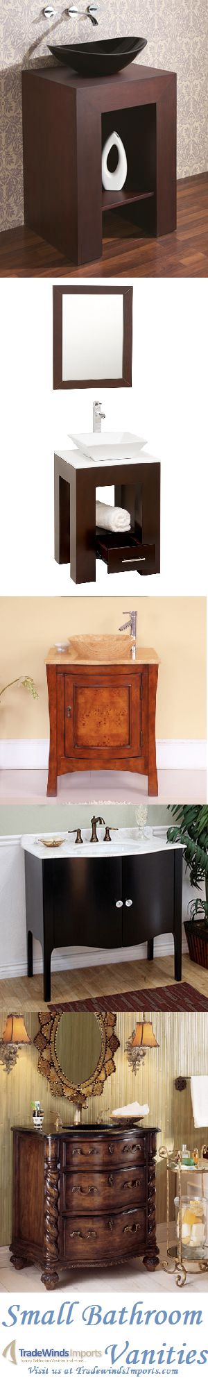 A collection of small bathroom vanities from