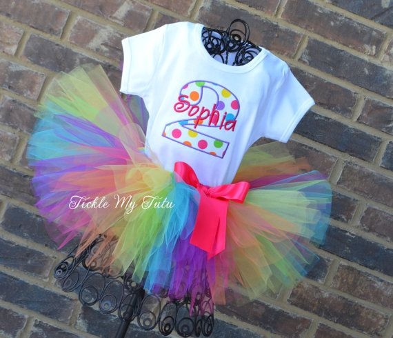Preppy Polka Dot Birthday Tutu Outfit Rainbow by TickleMyTutu
