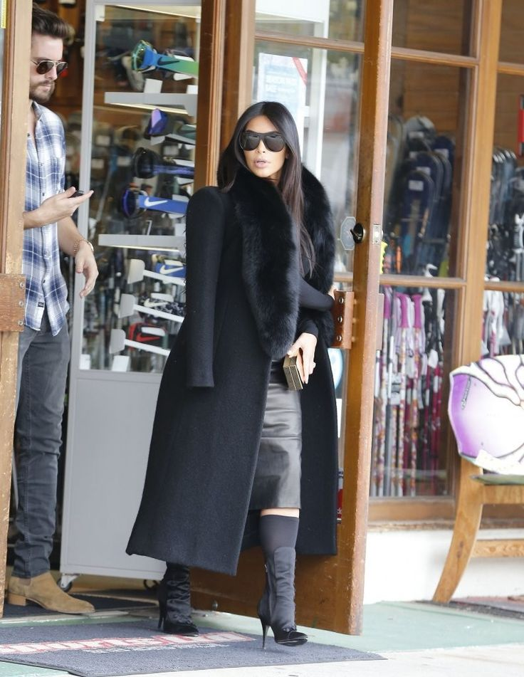 Reality stars Kim Kardashian, Khloe Kardashian, and Scott Disick are seen stopping by a sporting goods store in Woodland Hills, California to buy snowboarding and skiing equipment on January 30, 2015. Missing from the outing was Kourtney Kardashian, who recently had her third child with Scott Disick.  (January 30, 2015 - Source: FameFlynet Pictures)
