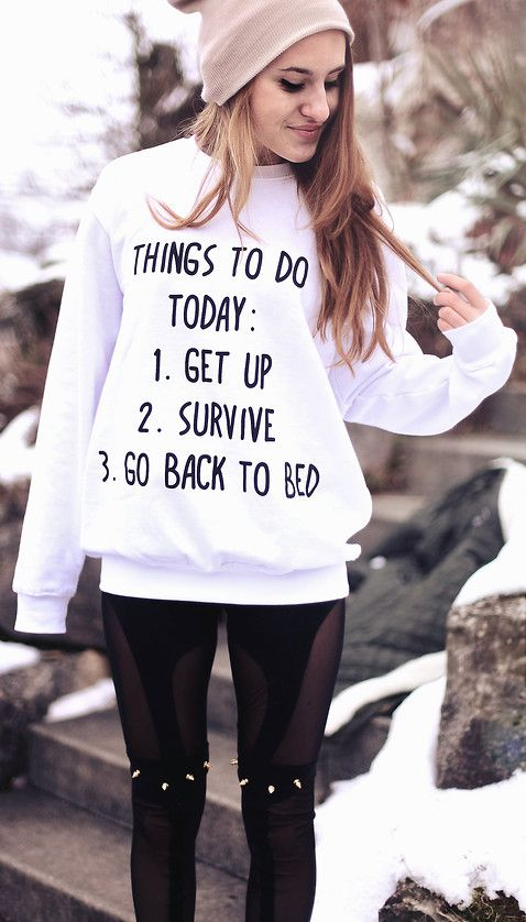 """""""Things to do today..."""" Sweatshirt with Beanie & Spiked leggings"""