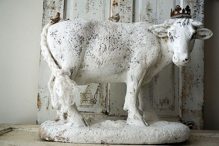 Large cow statue French farmhouse paint white figure w ...