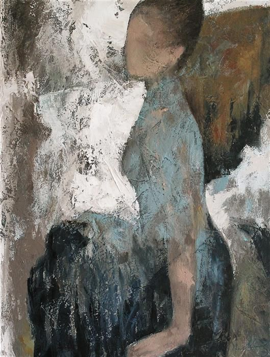 "Original art for sale at UGallery.com | Blue Skirt by Naoko Paluszak | $1,800 | oil painting | 24"" h x 18"" w"