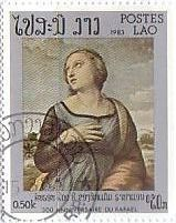 ラファエロ ルネサンス 絵画切手 ラオス 『アレキサンドリアの聖カタリナ』