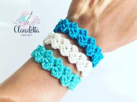 Crochet EASY bracelet in zigzag pattern / Fre …