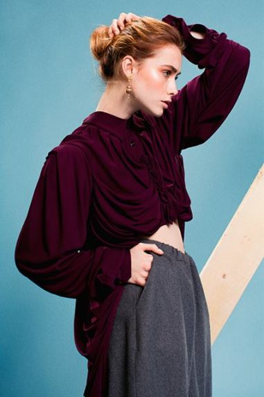 photo by Tommaso Ferri; styling by Elisa Sedoni; purple long tail shirt by Yojiro Kake