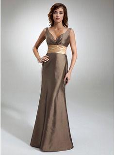 Bridesmaid Dresses - $112.99 - Trumpet/Mermaid V-neck Floor-Length Taffeta Bridesmaid Dress With Ruffle Sash  http://www.dressfirst.com/Trumpet-Mermaid-V-Neck-Floor-Length-Taffeta-Bridesmaid-Dress-With-Ruffle-Sash-007000878-g878