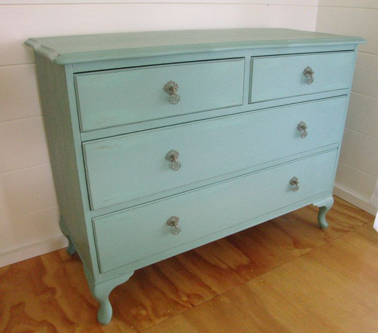 Shabby Chic 4 Drawer Sideboard Hand Painted In Welsh Green With Copper Accents