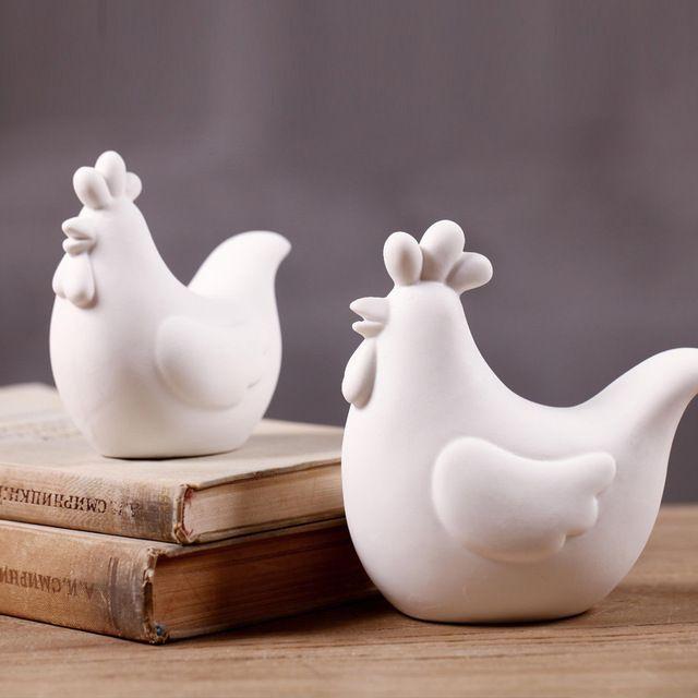 Zakka kreative weiße prägnante Keramik Huhn zu Hause Tisch Balkon Hochzeit Han… – Keramische Kunst