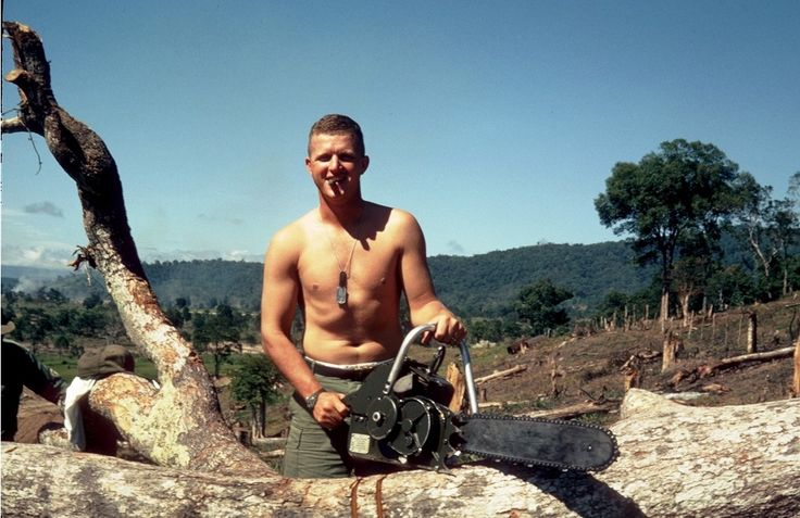 70th engineer bn soldier with a chainsaw 1965 vietnam for B b com