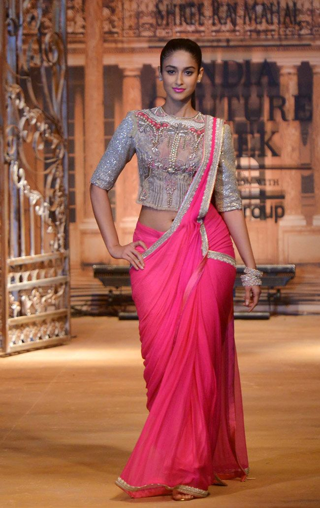 Ileana D'Cruz walked the ramp for designer Sulakshana Monga at the India Couture Week 2014 finale.