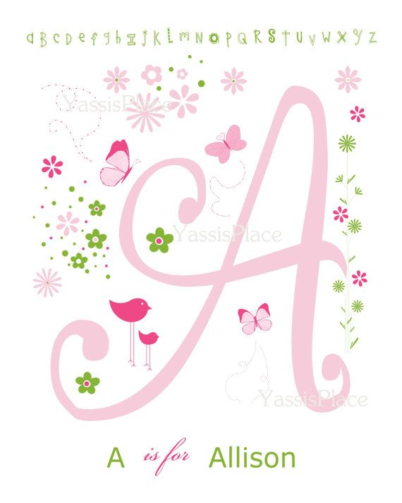 Kids Wall Art Letter and Name Initial print in Pink by YassisPlace, $28.00