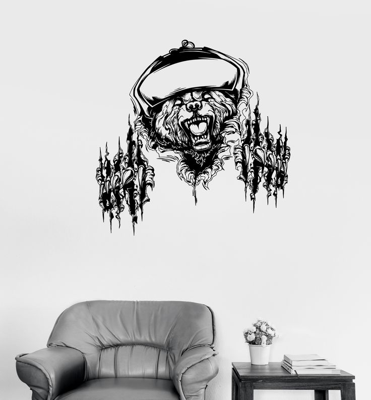 Wall Decal Fierce Grizzly Bear Animal Power of Rage Claws Grin Vinyl Sticker (ed601)
