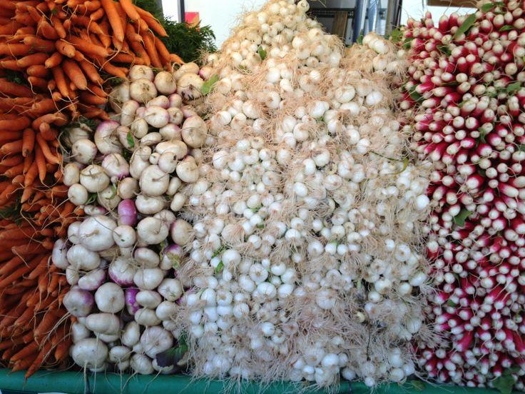 roots: carrots, onions, radishes