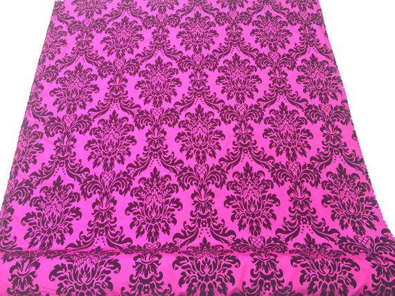 Cerise hot pink DAMASK taffeta fabric girls by TheFabricShopUK