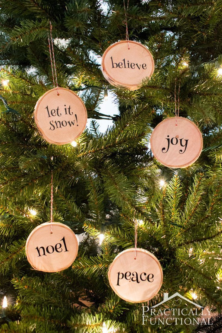 DIY Wood Slice Christmas Ornaments   an easy Silhouette vinyl project (with tutorial)  Practically Functional
