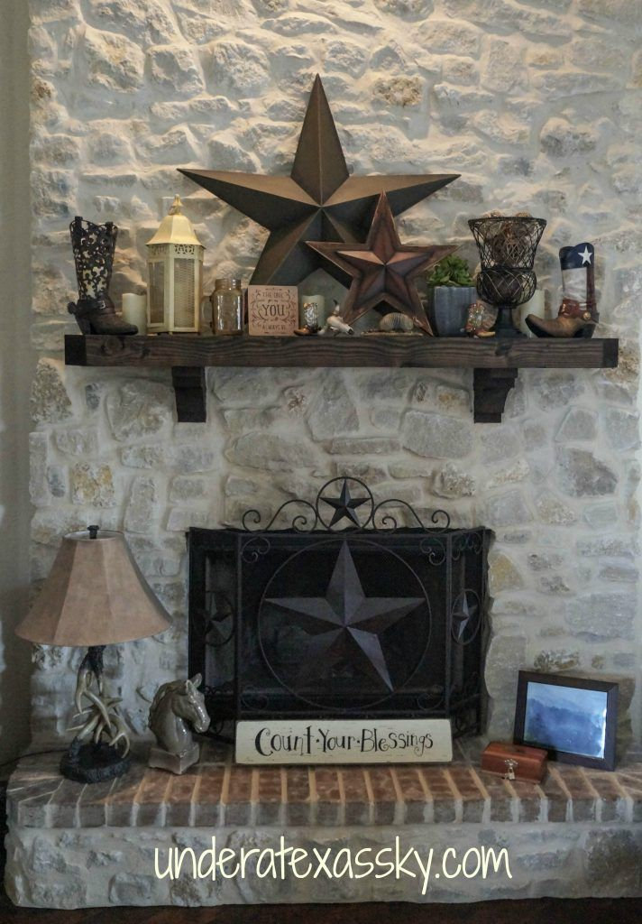 Our Texas themed mantle decor is one of my favorite design elements in our home. It has so much of what I love: Texas stars, boots, and encouraging words.