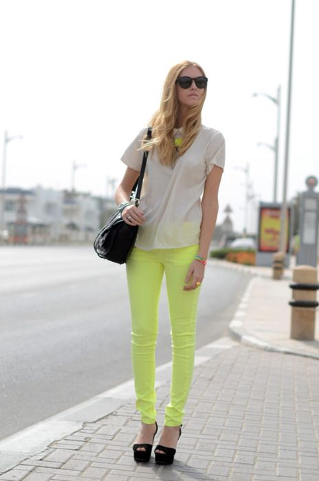 love this all. lime green pants rock.