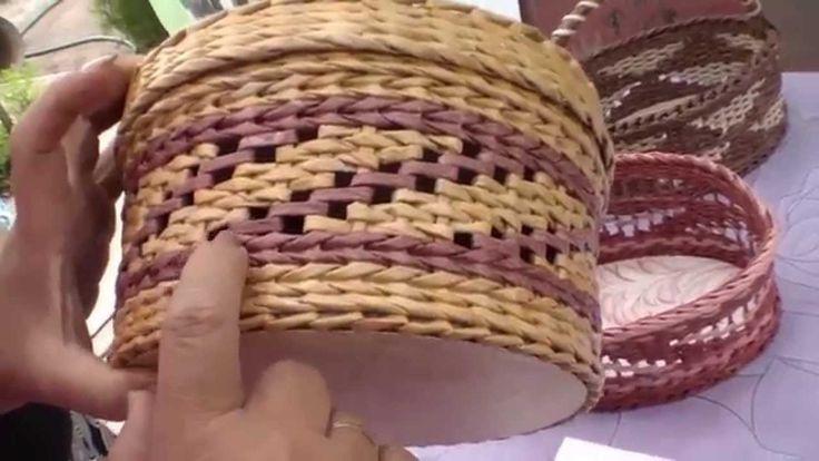 Fillet-cotton newspaper weave. --  Tutorial tejido **