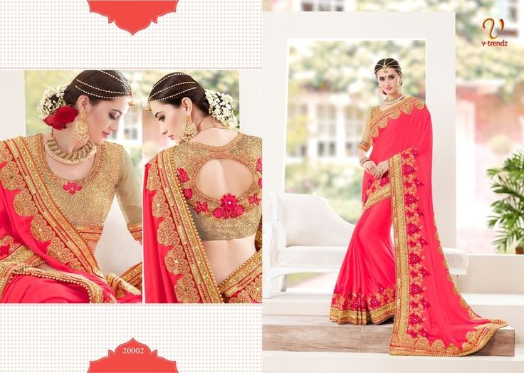 NEW PINK HEAVY HAND WORK WEDDING BRIDAL SAREE DESIGNER INDIAN BOLLYWOOD SARI VT2 #Handmade #Sareewithunstitchblousepiece