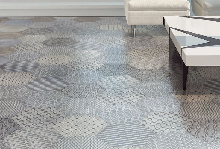 A BLEND OF DIFFERENT PATTERNS BASED ON FABRICS FOR TIES AND MEN'S SHIRTS ADDS A PRECIOUS TOUCH TO THE HEXTIE SURFACE. THE COLLECTION IS MADE UP OF EIGHT DIFFERENT TYPES OF DECORATIONS COMBINED WITH FOUR COLORS, RECALLING OLD-STYLE HEXAGONAL CONCRETE FLOOR TILES