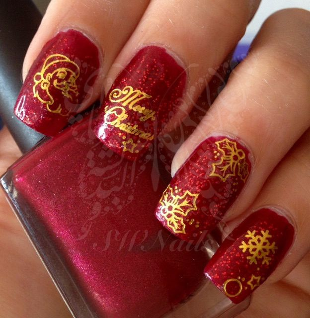 Gold Christmas Xmas Santa Claus Snowflakes Bells Nail Art Water Decals Nail Transfers Wraps