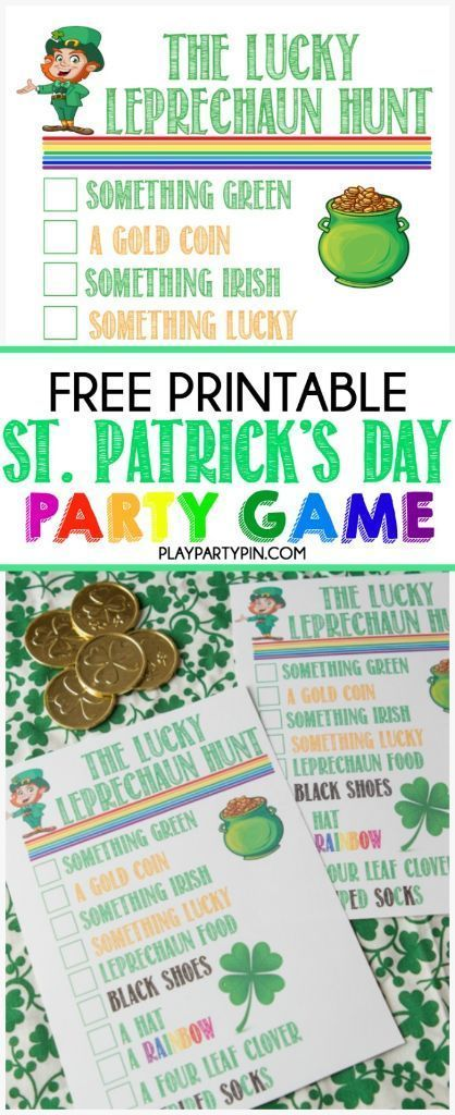 This leprechaun hunt from playpartypin.com is on my favorite St. Patrick's Day party games! Send them on a hunt to find things that a leprechaun left behind and first one to find all items on the list wins a St. Patrick's Day surprise!