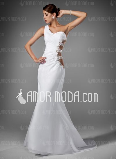 Evening Dresses - $184.99 - Mermaid One-Shoulder Sweep Train Chiffon Evening Dress With Ruffle Beading (017004345) http://amormoda.com/Mermaid-One-shoulder-Sweep-Train-Chiffon-Evening-Dress-With-Ruffle-Beading-017004345-g4345