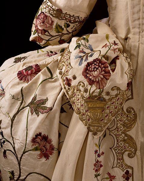 Mantua & Petticoat Embroidered with Rococo Motifs. British, 1740-1745.: