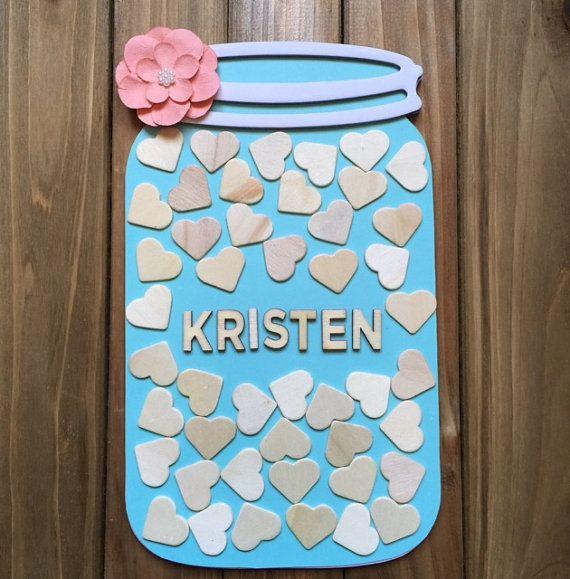 Mason Jar Wooden Guest book alternative  45 hearts  by ItsyBitsyCA