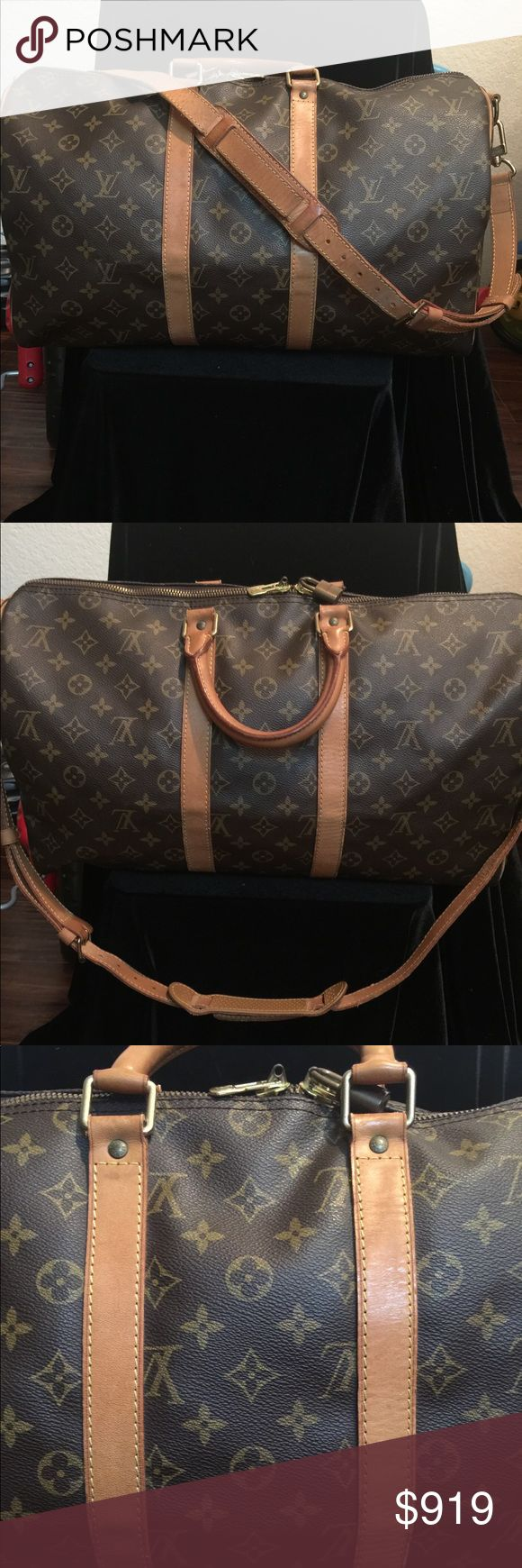 Louis Vuitton Keepall 45 with strap LV Monogram Canvas Keepall 45 with strap and lock  but no Overall good condition Louis Vuitton Bags Travel Bags