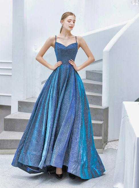 In Stock:Ship in 48 Hours Blue Spaghetti Straps Prom #dress#dress2019#dresscheap… – Outfits